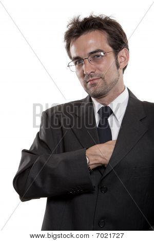 hombre de negocios en las lentes