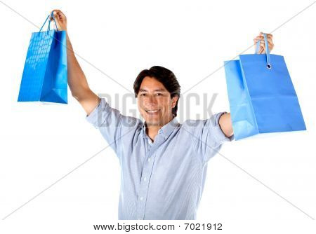 Excited Man With Shopping Bags