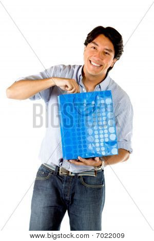 Man Opening A Gift