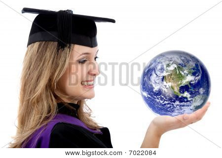 Graduation Woman Holding Earth