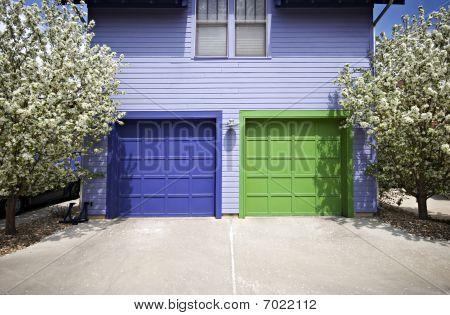 Blue & Green Garage Doors