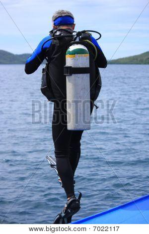 Scuba Diver takes the plunge