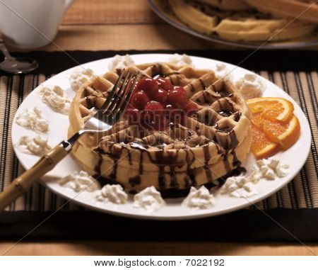 Decadent Waffles With Cherries