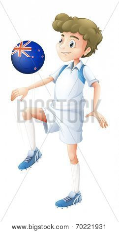 Illustration of a boy using the ball designed with the flag of New Zealand on a white background
