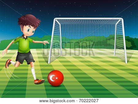 Illustration of a boy kicking the ball at the field with the flag of Turkey