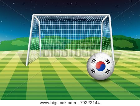 Illustration of a ball at the field with the flag of South Korea
