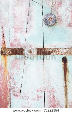 Old Wooden Background Of Drift Wood In Pastel Mint Green Color.