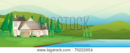 Illustration of a house near the river