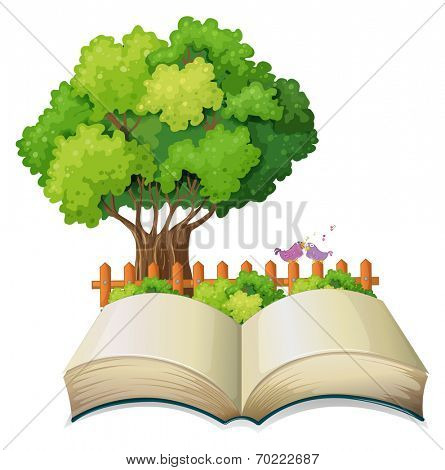 Illustration of an empty open book and a tree with a fence on a white background