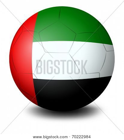 Illustration of a ball with the UAE flag on a white background