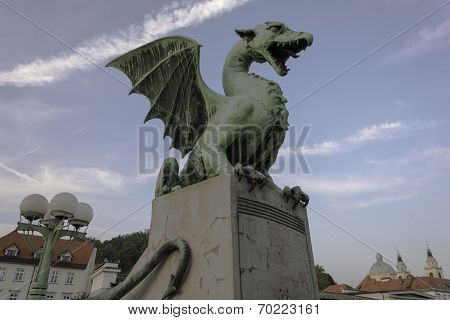 Dragon on the dragon bridge in Ljubljana