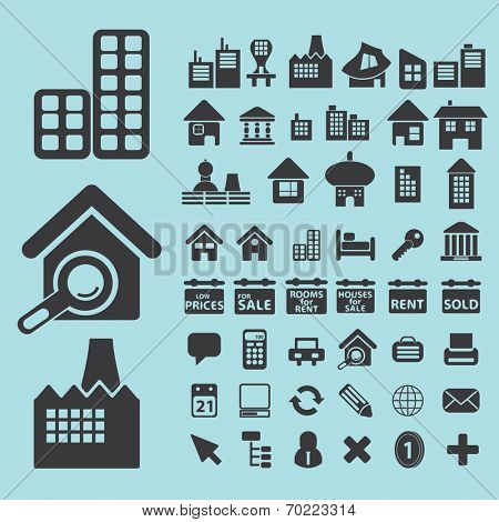real estate, houses black icons, signs, silhouettes, illustrations set. vector