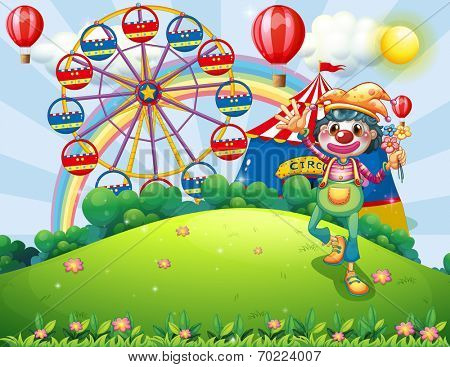 Illustration of a clown at the hilltop with a carnival