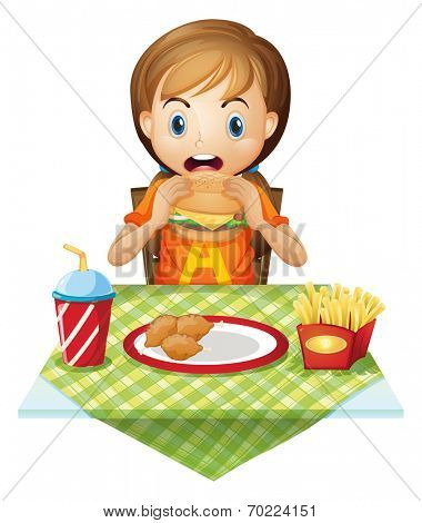 Illustration of a child eating at a fastfood restaurant on a white background