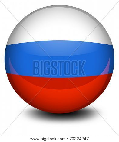 Illustration of a ball with the Russian flag on a white background