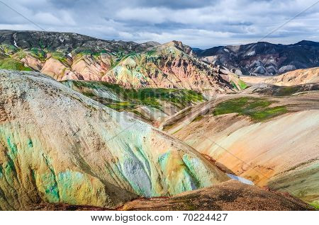 Scenic Landscape View Of Landmannalaugar Colorful Volcanic Mountains