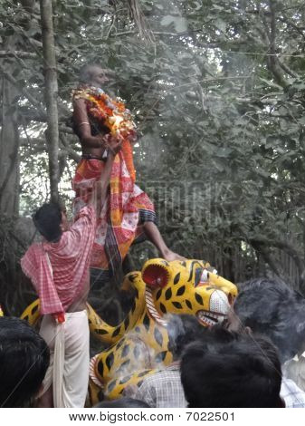 Hindu Shaman Priests Swallow Fire