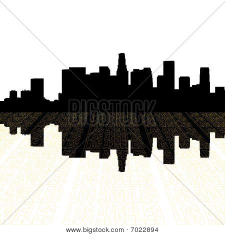 Skyline de Los Angeles com contorno de texto do ponto de vista