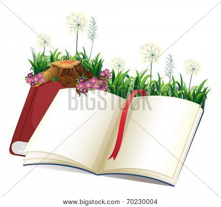 Illustration of an empty storybook on a white background