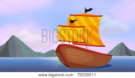 Illustration of a ship at the ocean