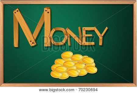 Illustration of a blackboard with money