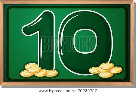 Illustration of a blackboard with ten coins