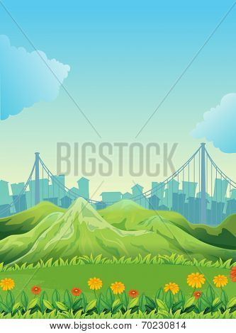 Illustration of the mountains across the tall buildings