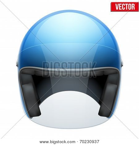Blue motorbike classic helmet with clear glass visor. Vector.