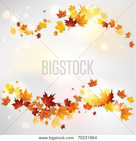 Autumn swirl of maple leaves with place for text. Raster version
