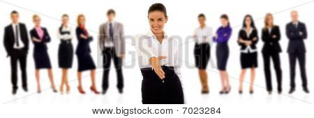 Businesswoman Welcoming To Her Team
