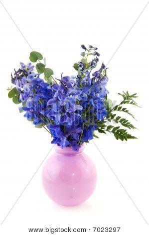 Blue Larkspur In Pink Vase