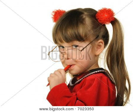 The Little Girl In Big Glasses And With Pen