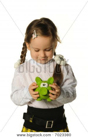 The Little Girl With A Money Box - A Pig