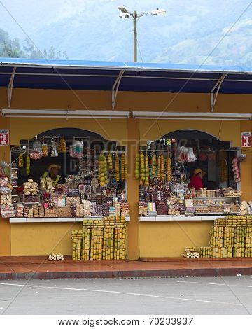 Snack Stands in Banos, Ecuador