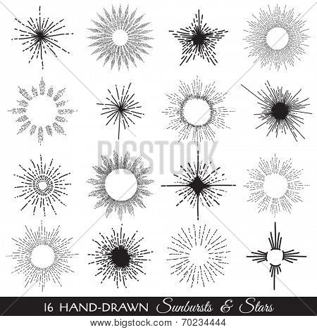 Sunbursts and Stars - hand-drawn illustration in vector