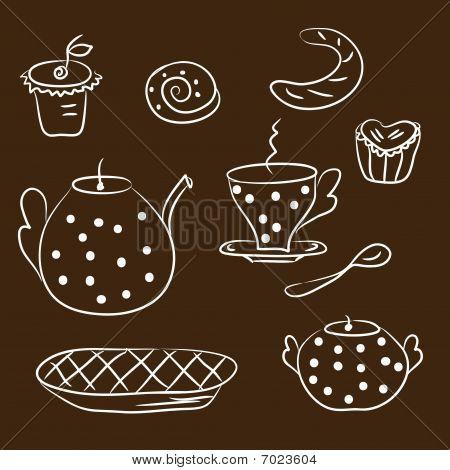 Bosquejo de juego de té