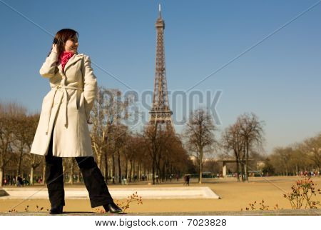 Happy Beautiful Woman In Paris In Springtime