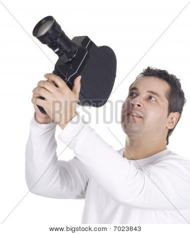 Cameraman Isolated On the clean White Background