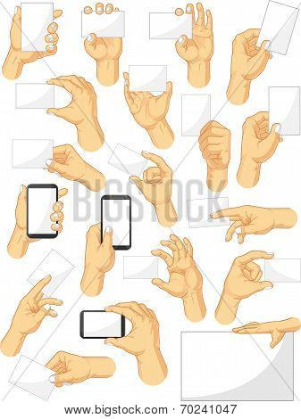 Hand Sign Collection - Holding Sign and Gadget Gestures