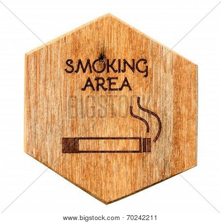 Wooden Designated Smoking Area Sign