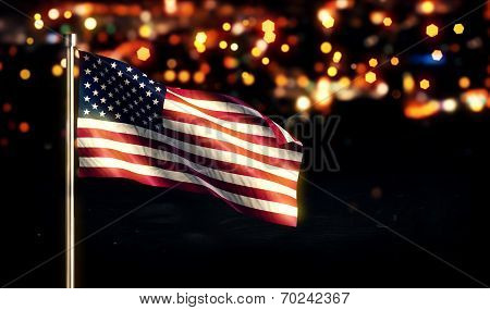 USA America National Flag City Light Night Bokeh Background 3D