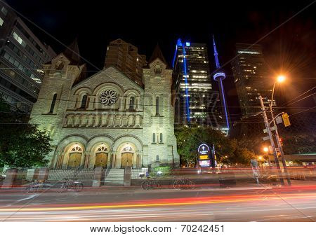 Saint Andrew's Church In Toronto At Night