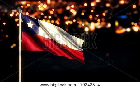 Chile National Flag City Light Night Bokeh Background 3D