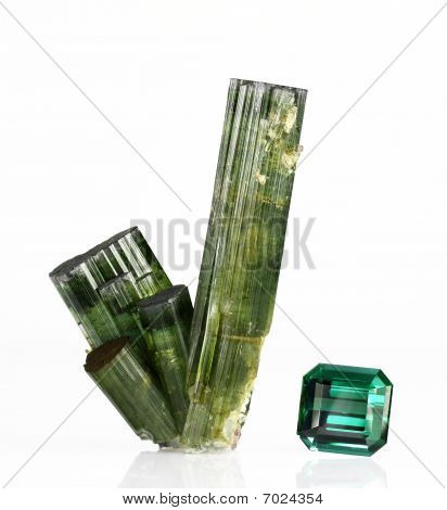 Verdelite Tourmaline Crystals And Gem