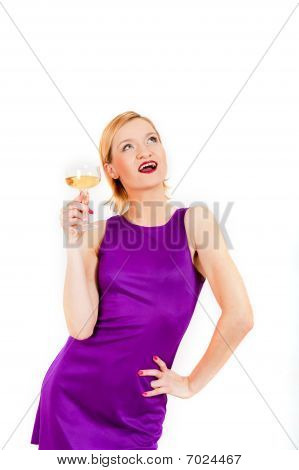 young beautiful woman with celebrating