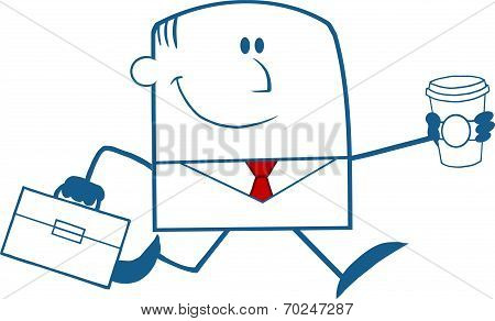 Lucky Businessman Running To Work With Briefcase And Coffee Monochrome
