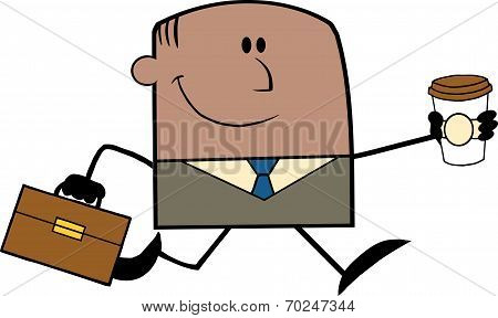 Lucky African American Businessman Running To Work With Briefcase And Coffee