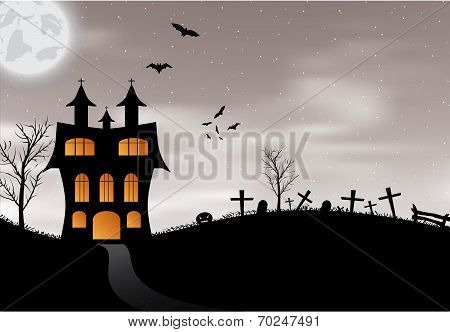 Halloween card with castle, pumpkin, bats and moon