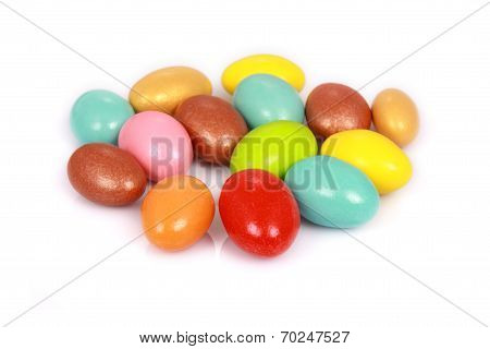 Colorful Candies Isolated On White Background. Shallow Dof