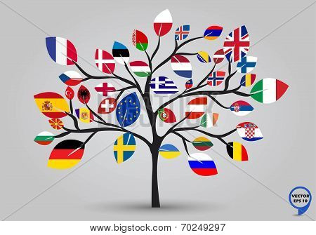 Leaf flags of europe in tree design. Vector illustration.